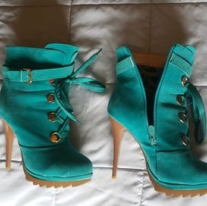 Shoes - Teal ankle booties stilettos heels pump lace up